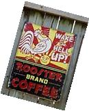 Coffee Retro Tin Sign Vintage Rooster Kitchen Wall Art Home