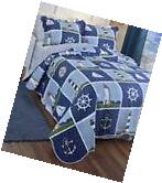 3 Pc Reversible Full/Queen Lighthouse Anchor Quilt Set