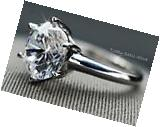 RING REAL 14K WHITE GOLD SOLITAIRE ENGAGEMENT 3 CT  ROUND