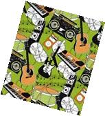 ROCK N' ROLL MUSIC GREEN  GIFT WRAPPING PAPER - Two 6 Ft