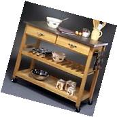 Rolling Kitchen Island Cart Portable Stainless Steel Top