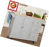 Rolling Kitchen Island Wood Cart w/ 3 Drawer Cabinet Spice