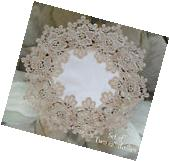 """Rose Lace SET OF TWO 12"""" Doilies Soft Gold / Beige White"""