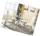 Round Glass 5 Piece Dining Table Set 4 Chairs Kitchen Room