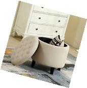 Round Storage Ottoman Beige Upholstered Button Tufted Foot