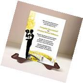 Wedding Invitations RSVP Card Bride Groom Bridge Tree Yellow