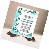 Wedding Invitations RSVP Cards Butterfly Ribbon Swirls Teal
