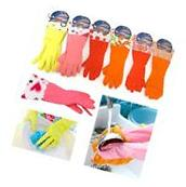 2 Pair Rubber Gloves Latex Kitchen Washing Cleaning Multi