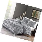 Ruched Bedding Set Gray King Size Bed Duvet Cover & Shams 4