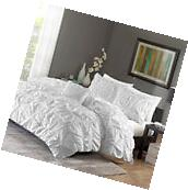 Ruched Bedding Set FULL/QUEEN Size Bed White Duvet Cover