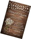 Wedding Invitations Flowers & Lights Rustic Country 50