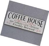 Rustic Farmhouse Style Coffee House Wood Sign, White & Black