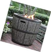 NEW Rustic Wine Barrel Gas Fire Pit Patio Outdoor Backyard