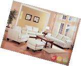 Samuel White Bonded Leather Sofa, Love Seat & Chair