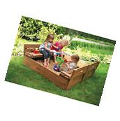 Kids Outdoor Sandbox With Cover Seats Cedar Wooden Sand Play