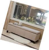 Sarelia Modern Upholstered Light Beige Fabric Storage Bench