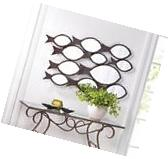 SCHOOL OF FISH  DECORATIVE IRON WALL MIRROR NAUTICAL DECOR~