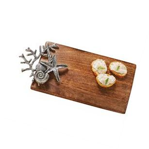 Sculpted Coral and Shells Wood Cutting Board Mango Wood 14