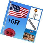16 FT Sectional Aluminum flagpole US American 3x5 Flag Pole