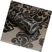 Self Adhesive Contact Paper Black Damask Wallpaper