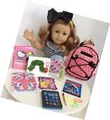 Sequin Backpack & School Supplies for American Girl Doll 18