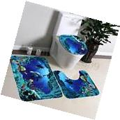 3Pcs/Set Bathroom Non-Slip Blue Sea Ocean Pedestal Rug+Lid