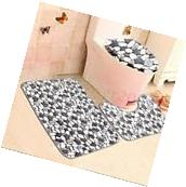 3Pcs/Set Bathroom Non-Slip Stone Pattern Pedestal Rug+Lid