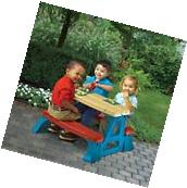 Kids Plastic Picnic Table Set Bench Chair Play In Out Door