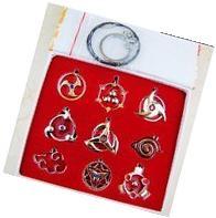 9PCS/Set Naruto Sharingan Konoha Pendant Necklace Keychain