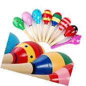 2pcs set  Wooden Maraca Percussion Musical Hand Instrument Shaker Baby Kids Toy