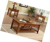 NEW 3PC SEVILLE MISSION OAK FINISH WOOD LIVINING ROOM COFFEE