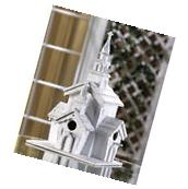 Shabby White Washed Victorian Style Church Chapel Birdhouse