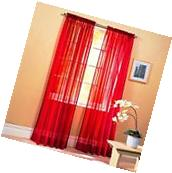 Sheer Voile 2-Piece Red Curtain Panel Solid Window Treatment