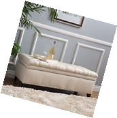 Sheffield Fabric Beige Tufted Storage Ottoman