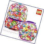 "Shopkins Backpack Lunch Bag 2 PC Set All Over Print 16"""