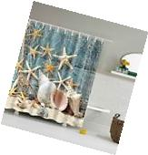 Shower Curtain Seashell Conch Starfish Waterproof Fabric