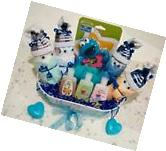 Baby Boy Shower Gift Basket Diaper Socks Elmo Rattle Bath