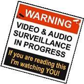 """WARNING VIDEO & AUDIO SURVEILLANCE"" SIGN Peel & stick decal"