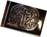 Nocona Silver and Black Tone Cross Belt Buckle 3703636 M & F