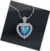 Fashion 925 Sterling Silver Blue Crystal Heart Pendant