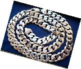 13mm 925 STERLING SILVER MEN'S CUBAN LINK CHAIN NECKLACE 20