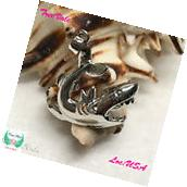 Shark - Pearl Cage Pendant - Silver Plated Fun Gift