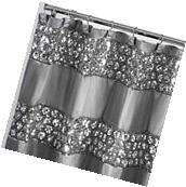 Popular Bath Sinatra Silver 70 x 72 Bathroom Fabric Shower