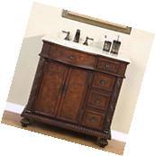 """36"""" Single Bathroom Vanity Cabinet Furniture Marble Top"""