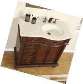 "36"" Single Sink Crema Marfil Marble Top Bathroom Vanity"
