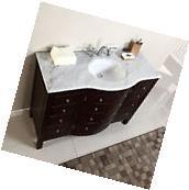 """48"""" Single Sink White Marble Top Bathroom Vanity Cabinet"""