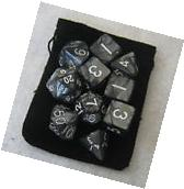 NEW Smoke Black RPG D&D Dice Set: 7 + 3d6 = 10 polyhedral