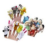 10PCS Soft Plush Animal Finger Puppets Cloth Baby