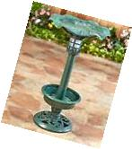 The Lakeside Collection Green Solar Lighted Birdbath with
