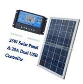 25W 12V Solar Panel System Kit + PWM 20A Charger Controller